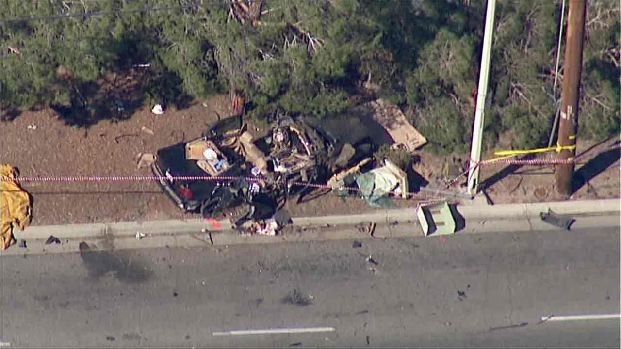 The aftermath of a deadly crash that left a Southern California Edison worker killed in Lancaster on Friday, Sept. 30, 2016.