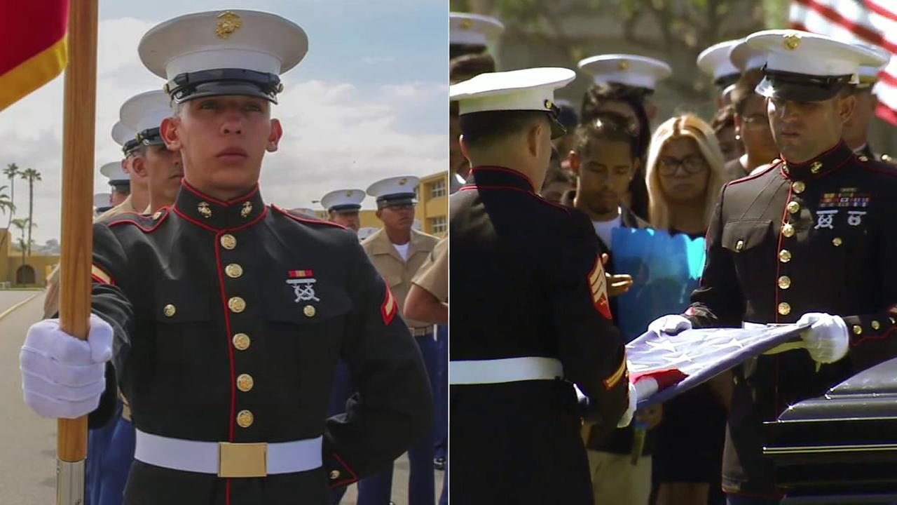 Lance Cpl. Carlos Segovia, who was shot and killed in South Los Angeles, was buried at the Los Angeles National Cemetery in West Los Angeles on Wednesday, Oct. 5, 2016.