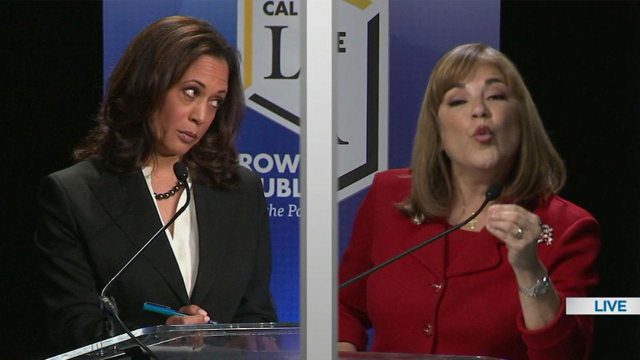 Senate candidates Kamala Harris (left) and Loretta Sanchez (right) held their only televised debate on Wednesday, Oct. 5, 2016.