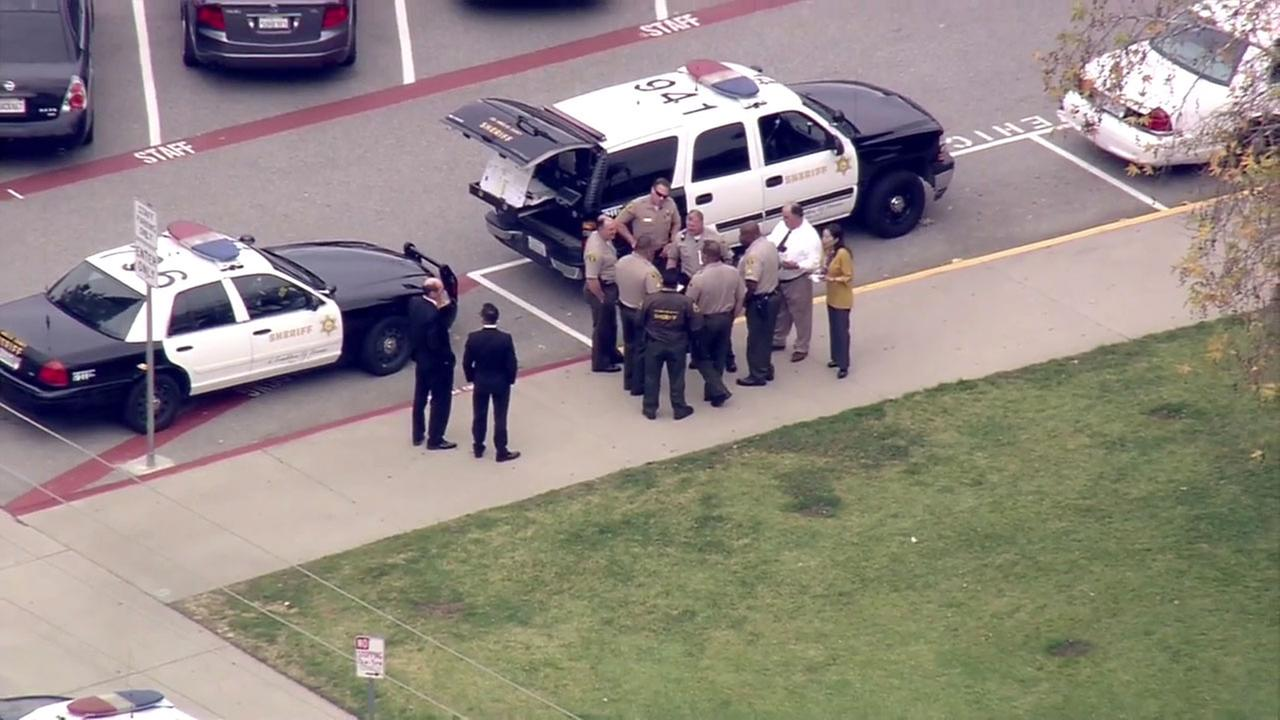Law enforcement officials are seen near Los Altos High School in Hacienda Heights in this undated photo.