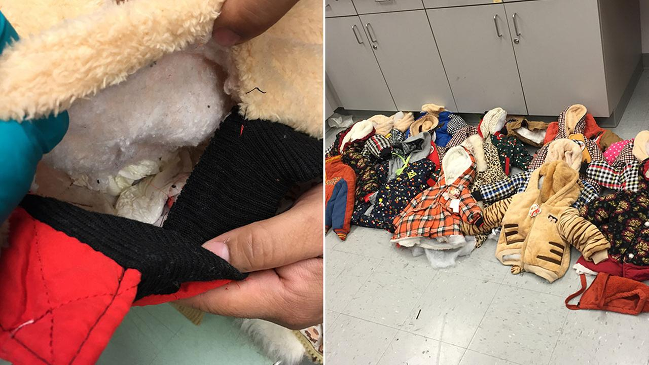 U.S. Customs and Border Protection said 4 pounds of cocaine was found sewn in the linings of childrens clothes at Houstons George Bush Intercontinental Airport on Oct. 3, 2016.