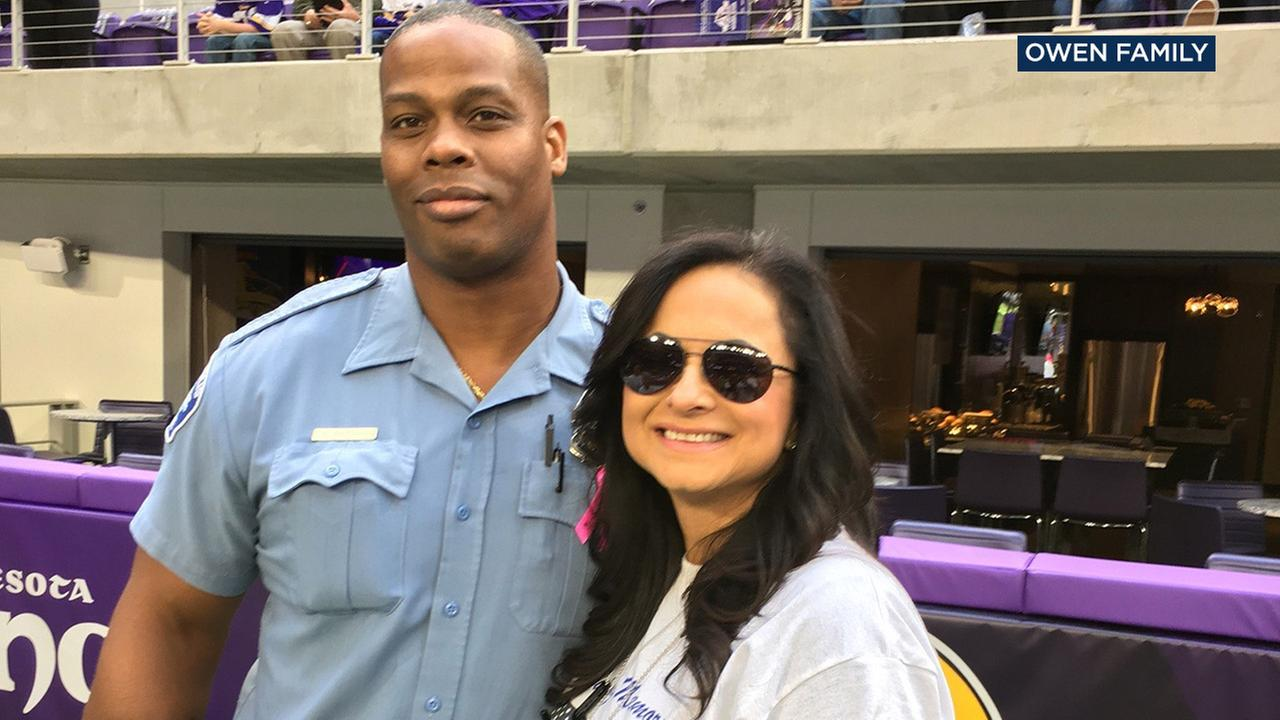 The family of Sgt. Steve Owen, who was shot and killed in Lancaster, attended a Minnesota Vikings game in his honor on Sunday, Oct. 9, 2016.