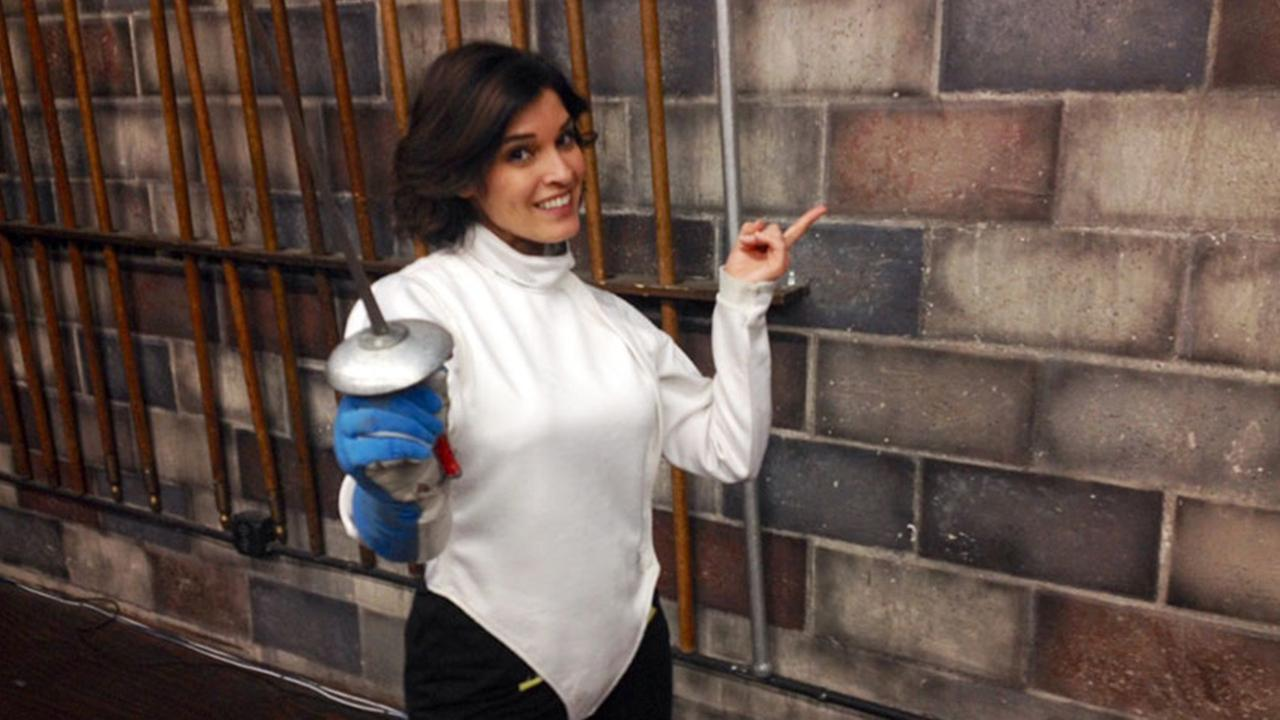 Eye on L.A.s host Tina Malave learns to fence in this undated file photo.