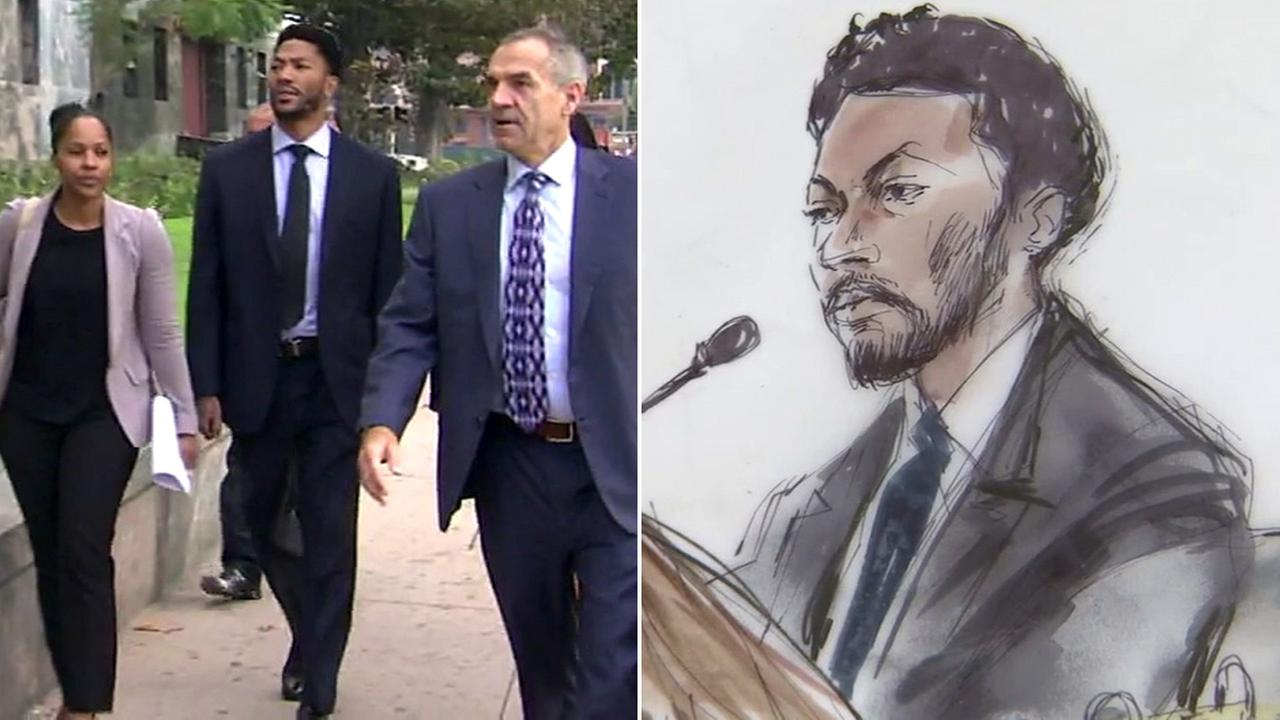 NBA star Derrick Rose in downtown Los Angeles for a civil lawsuit alleging rape.