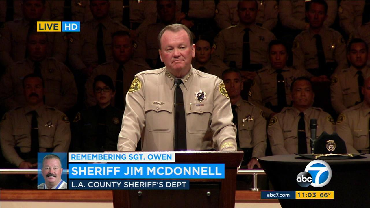 Los Angeles County Sheriff Jim McDonnell speaks at a memorial service for fallen Sgt. Steve Owen in Lancaster on Thursday, Oct. 13, 2016.KABC