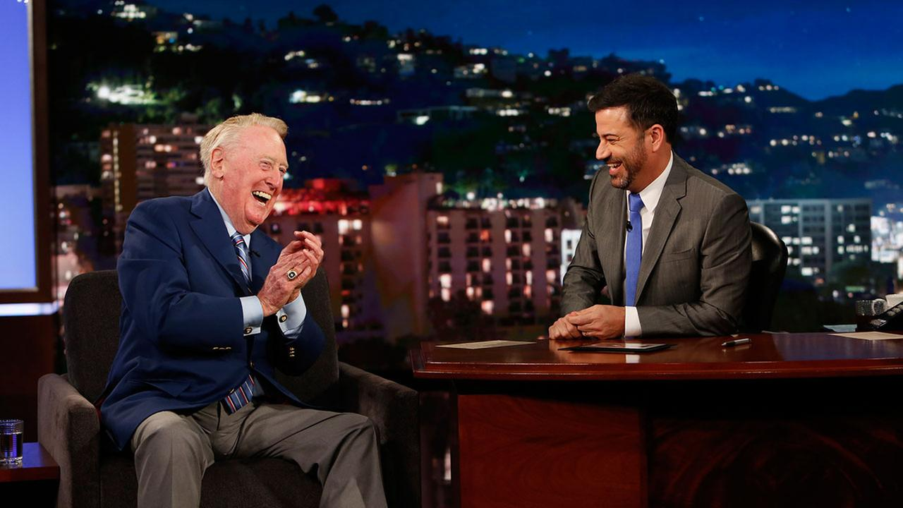 Retired Dodgers broadcasting legend Vin Scully called one more at-bat on Jimmy Kimmel Live! - a softball home run by Kimmel.
