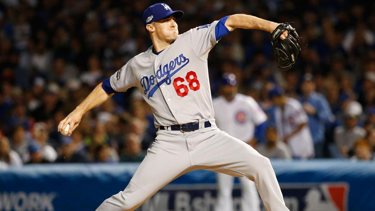 Los Angeles Dodgers relief pitcher Ross Stripling throws during the seventh inning of Game 1 of the NLCS against the Chicago Cubs Saturday, Oct. 15, 2016, in Chicago.