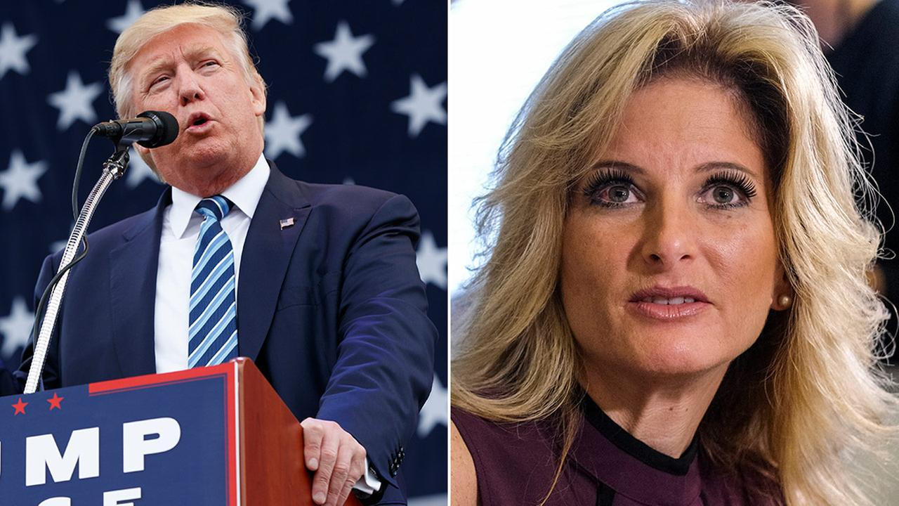 Donald Trump (left) speaks during a campaign rally and Summer Zervos (right) appears at a news conference.