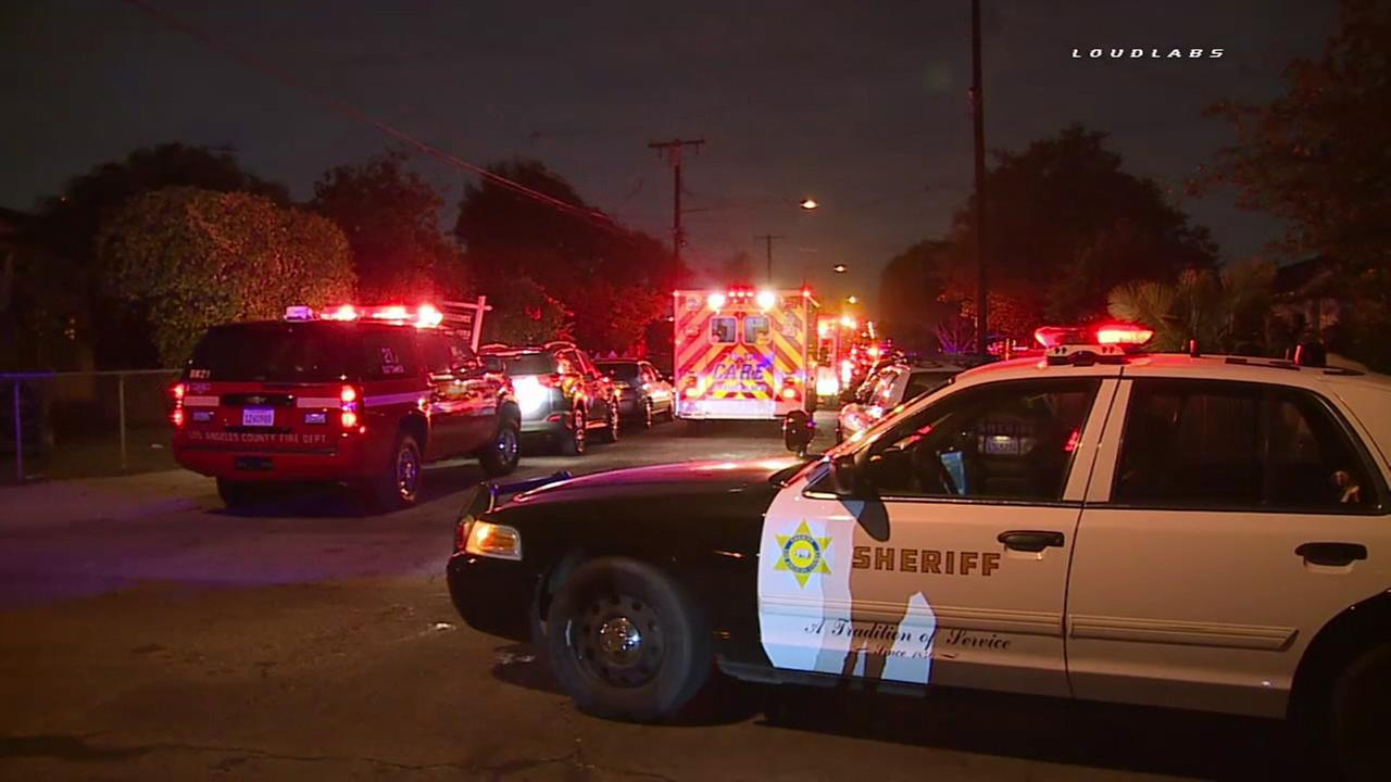 Los Angeles County sheriffs deputies and firefighter-paramedics responded to a double shooting that left one man dead and another injured in Norwalk on Sunday, Oct. 16, 2016.