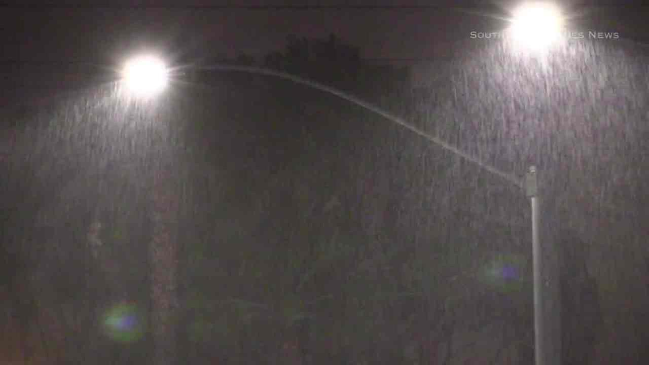 Rain coming down hard in Long Beach on Monday, Oct. 17, 2016.