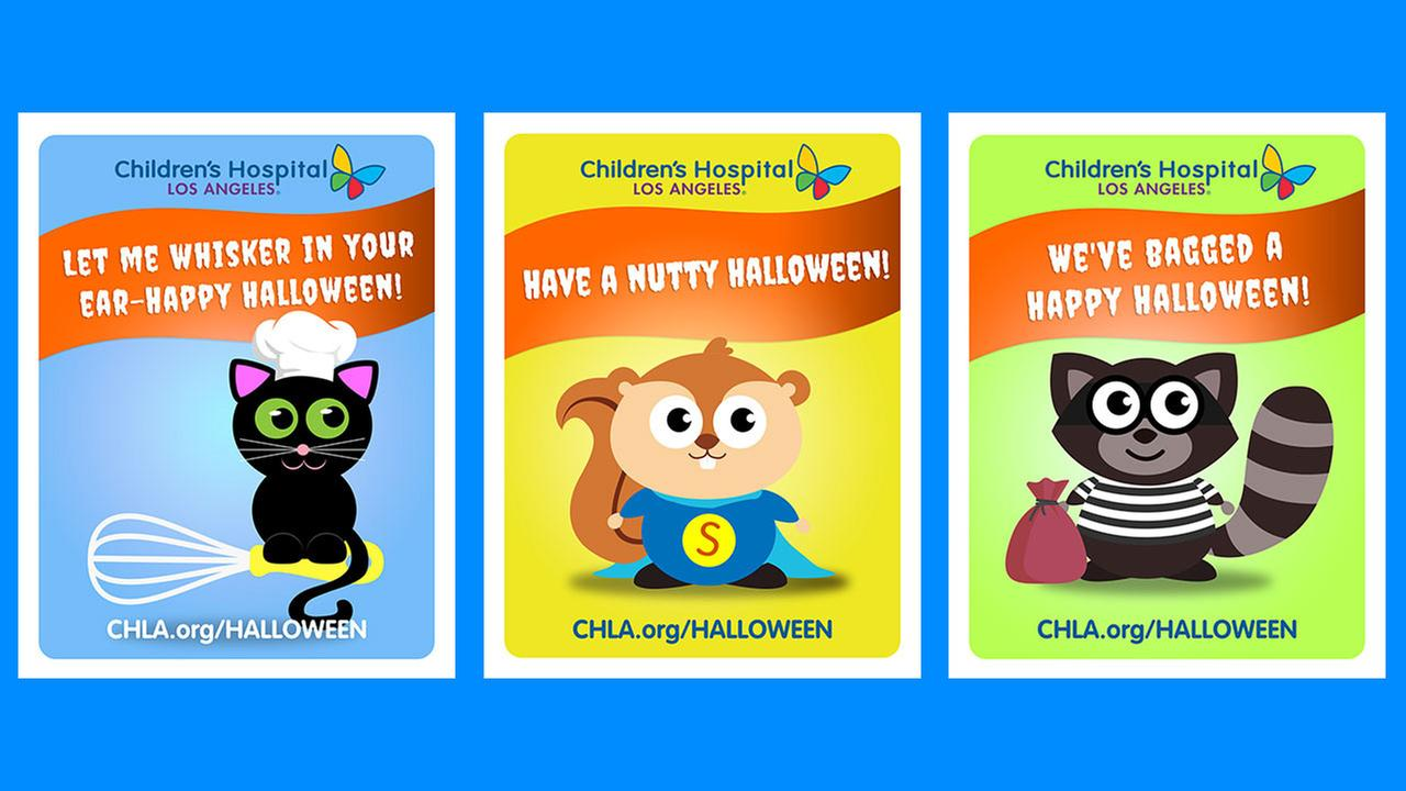 A selection of Halloween cards, or Cat-O-Grams, that Childrens Hospital Los Angeles will hand deliver to sick children who are spending the holiday at the hospital.