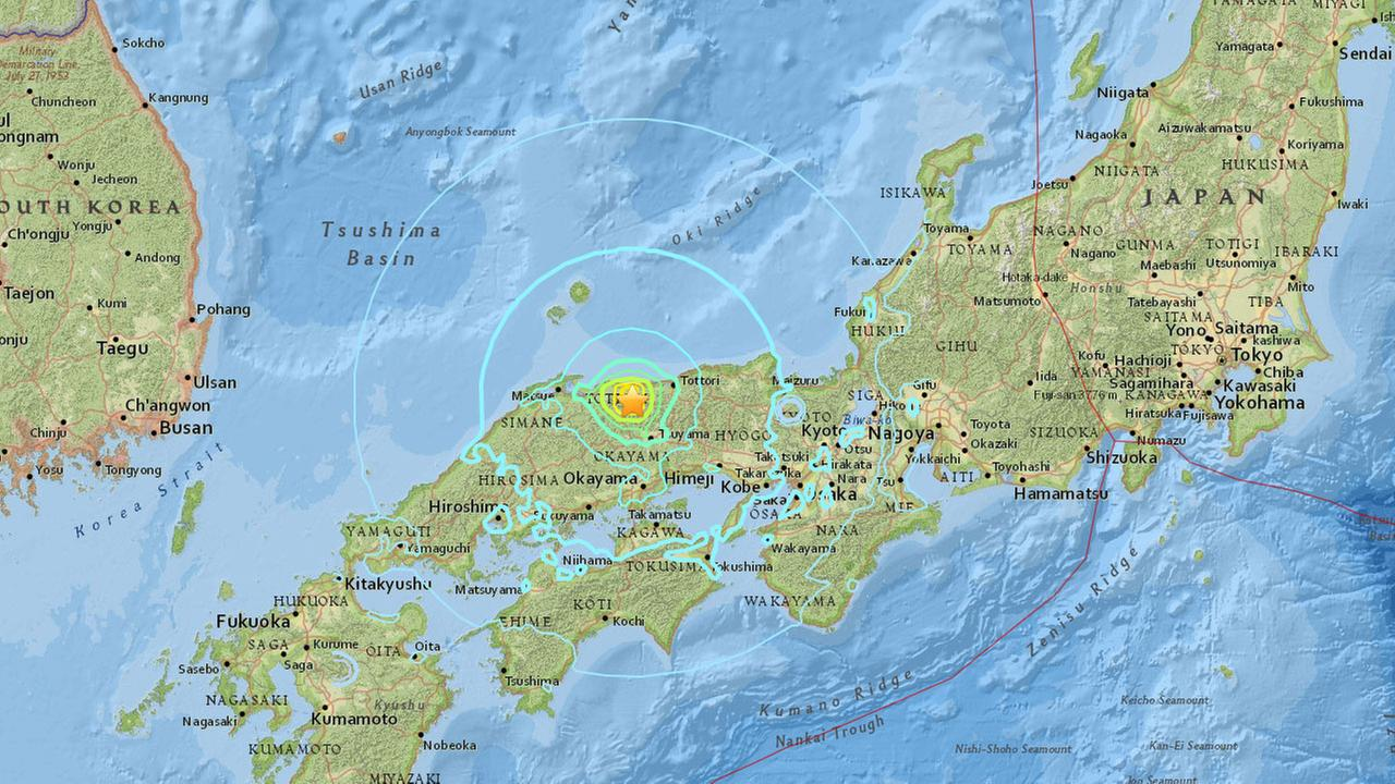 An earthquake with a preliminary magnitude of 6.6 struck western Japan on Friday, Oct. 21, 2016.