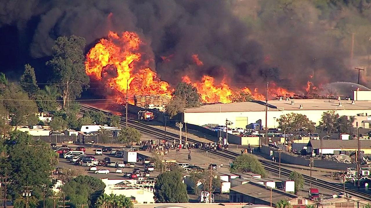 Large flames and clouds of smoke surrounded a recycling facility in Ontario on Friday, Oct. 21, 2016.