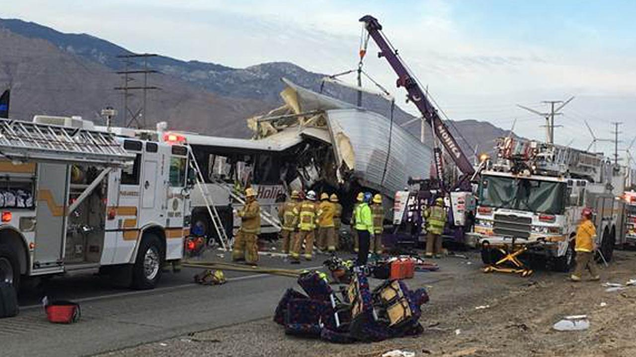 A crash involving a tour bus and a semi-truck prompted a partial closure of the 10 Freeway north of Palm Springs on Sunday, Oct. 23, 2016.