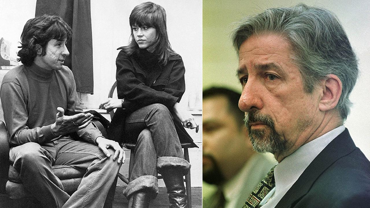 Activist and former state lawmaker Tom Hayden, pictured in 1998 (right) and with former wife Jane Fonda in 1972 (left).