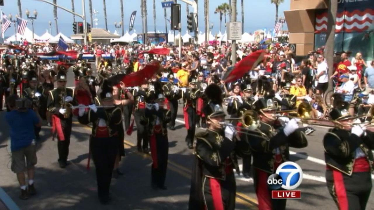 The marching band from Sauk Rapids High School from Minnesota is seen at The 4th of July Parade from Huntington Beach on Friday, July 4, 2014.