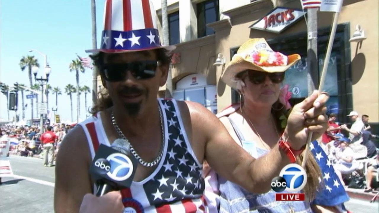 Rick Rockin Fig serves as the sports grand marshal at The 4th of July Parade from Huntington Beach on Friday, July 4, 2014.