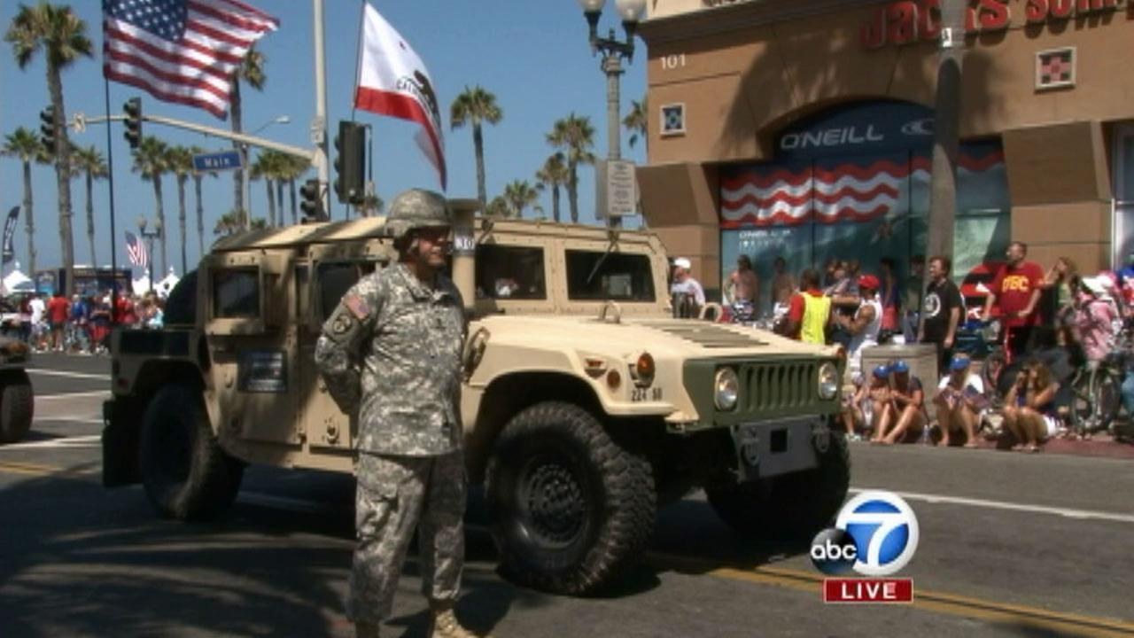 Members of the National Guard are seen at The 4th of July Parade from Huntington Beach on Friday, July 4, 2014.
