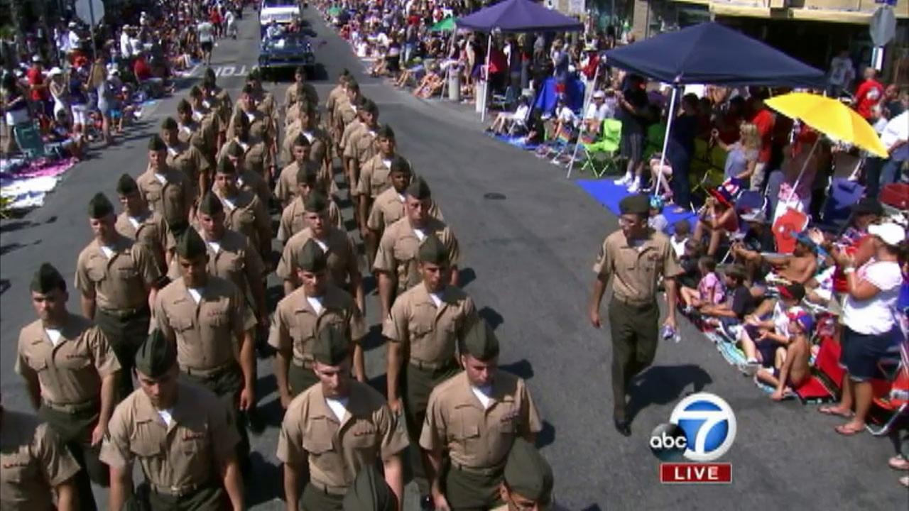 Members of the 3rd Battalion, 1st Marines of Huntington Beach are seen at The 4th of July Parade from Huntington Beach on Friday, July 4, 2014.