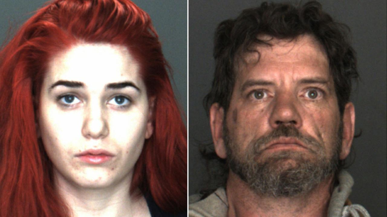 Cheyenne Cobb, 20, (left) and her step-father Jon Palechek, 47, (left) are shown in mugshots.