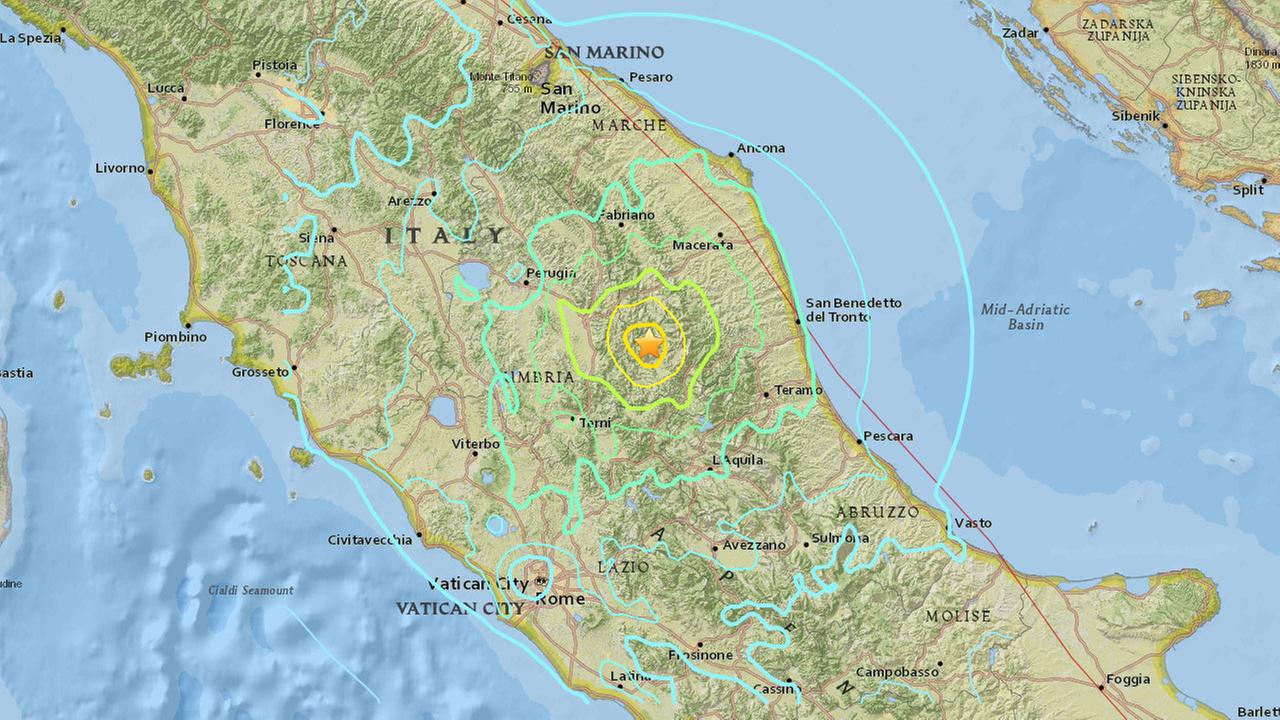 A map shows the epicenter of a preliminary-magnitude 5.5 earthquake that rattled central Italy on Wednesday, Oct. 26, 2016.