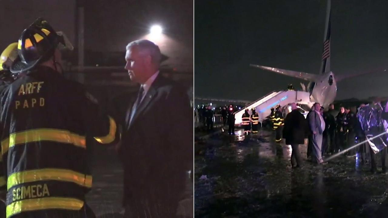 Republican vice presidential candidate Mike Pences plane skidded off the runway at New Yorks LaGuardia Airport on Thursday, Oct. 27, 2016.
