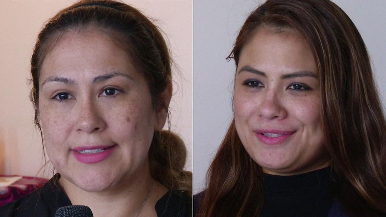 Jeanette (left) and Julie (right)  Vides discuss their father, Teodulo Vides, the bus driver who was killed in a tour-bus crash near Palm Springs.