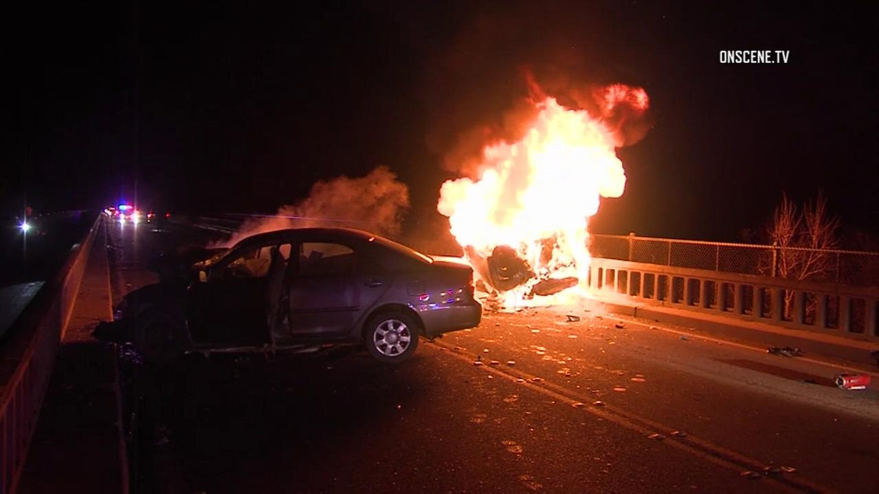 A fiery crash on a bridge in Ventura left two people dead on Saturday, Oct. 29, 2016.
