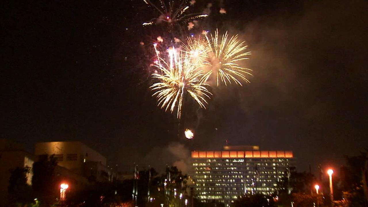 Fireworks light up the night sky as seen from Grand Park in downtown Los Angeles on Friday, July 4, 2014.