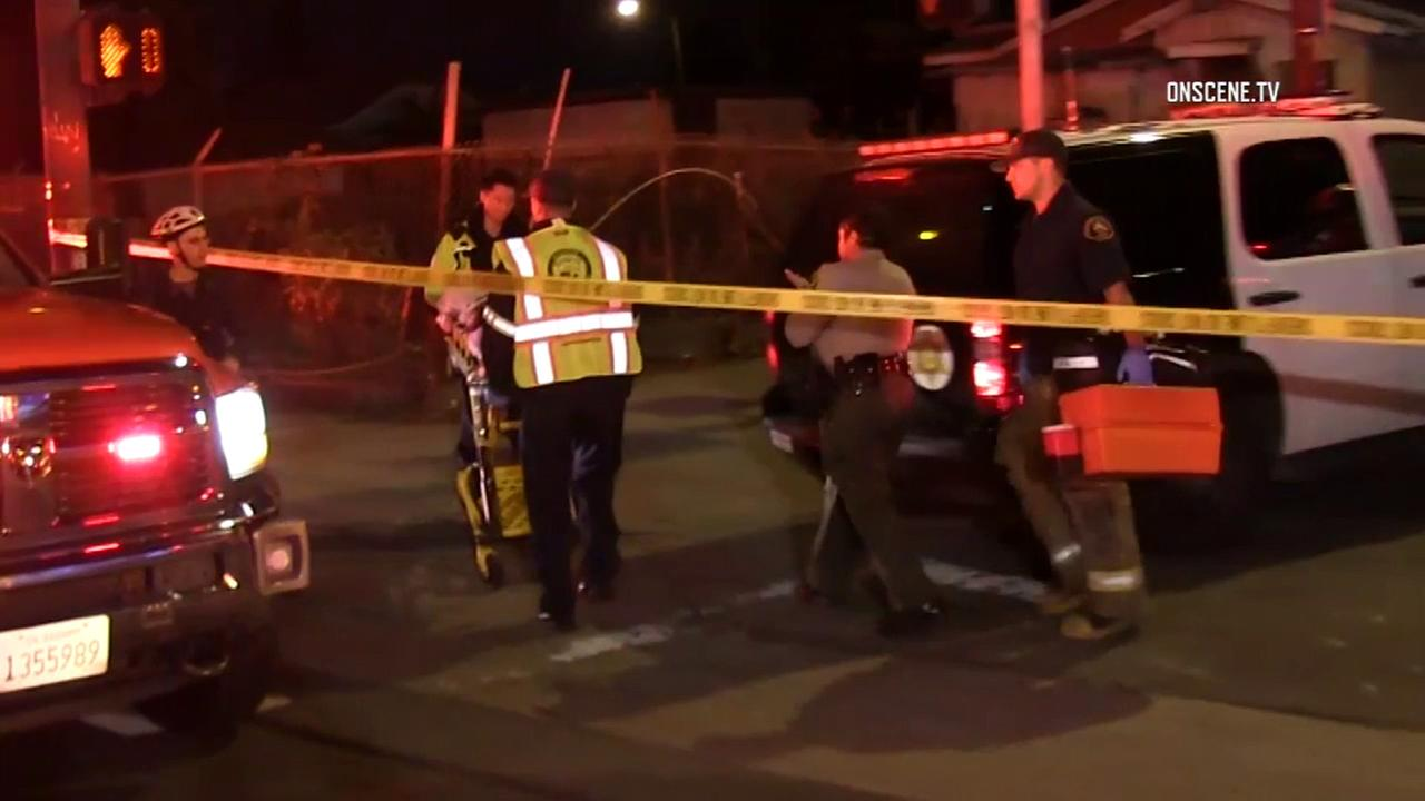 Sheriffs deputies and firefighter-paramedics responded to the Gramercy Park neighborhood of South L.A. after a shooting on Saturday, Oct. 29, 2016.