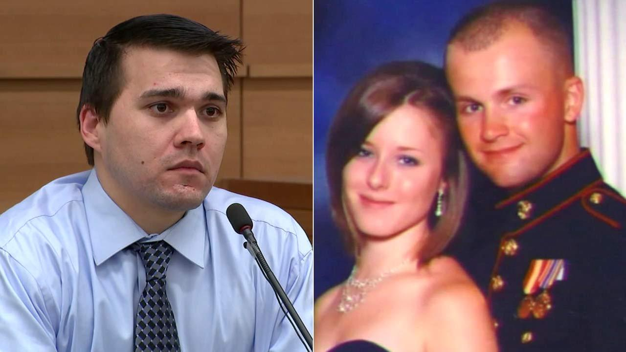 Former U.S. Marine Christopher Brandon Lee, left, was found guilty of murdering Erin Corwin, right, who was married to another Marine.