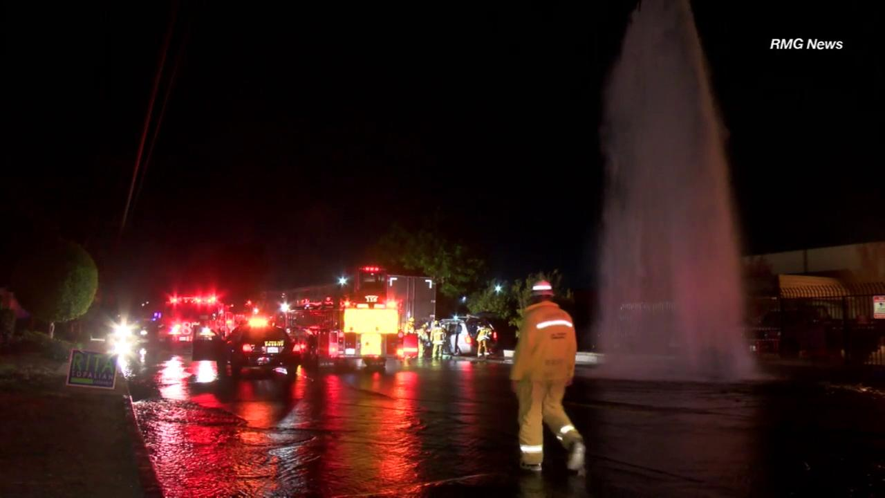Los Angeles County firefighters responded two a three-vehicle crash that sheared a fire hydrant in La Puente on Sunday, Nov. 6, 2016.