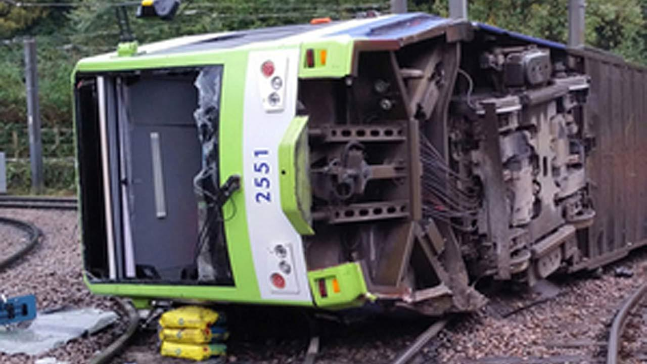 A photo issued by the Rail Accident Investigation Branch of the tram which derailed near the Sandilands stop in Croydon, London, Wednesday, Nov. 9, 2016.