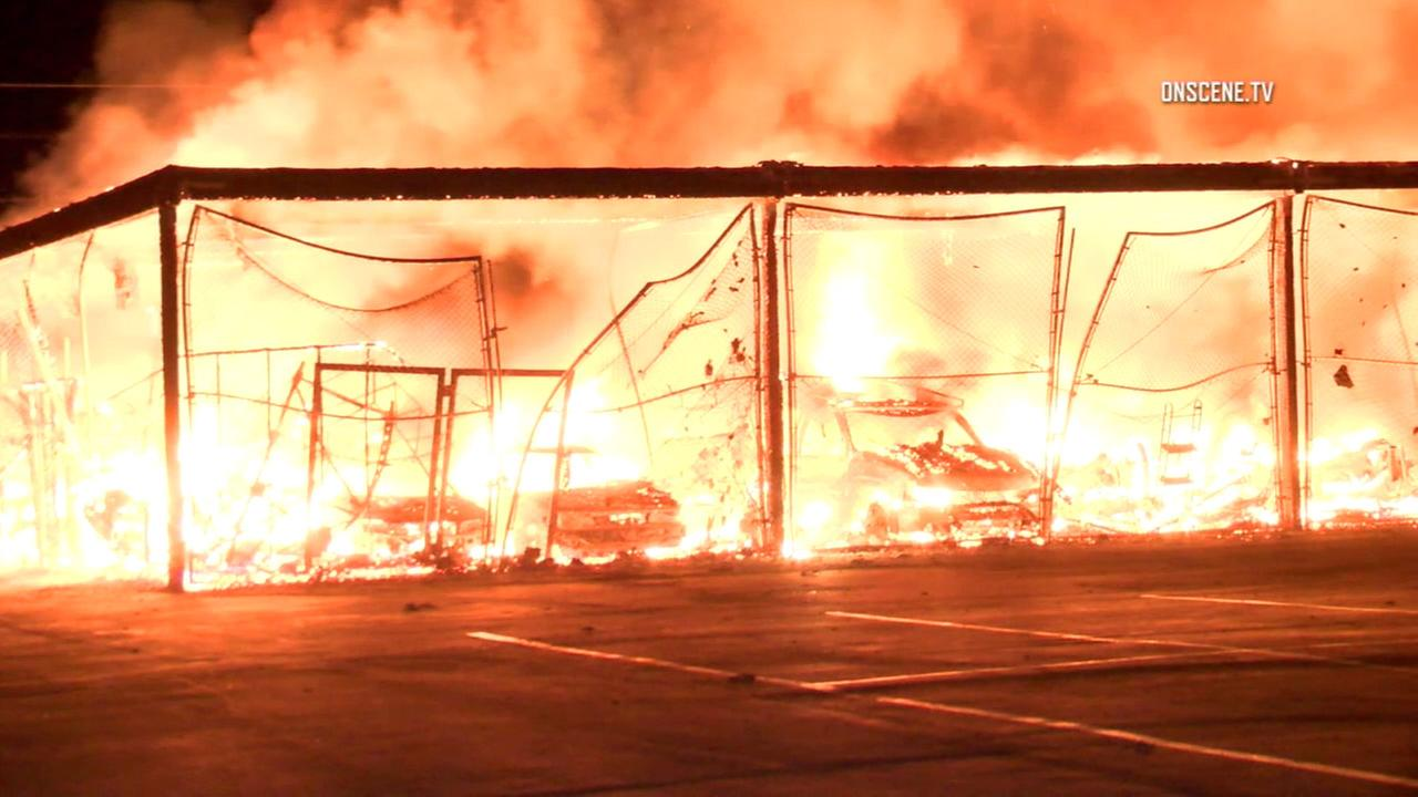 A large fire broke out at an outdoor storage facility in the 800 block of Production Place in Newport Beach on Friday, Nov. 11, 2016.