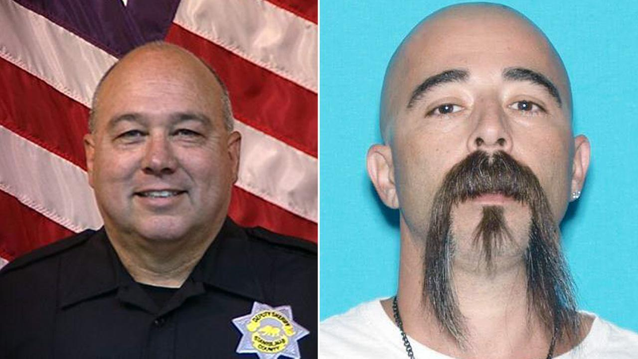 Stanislaus County Sheriffs Deputy Dennis Wallace (left) was shot and killed by David Machado (right) in Hughson, Calif., on Sunday, Nov. 13, 2016, according to authorities.