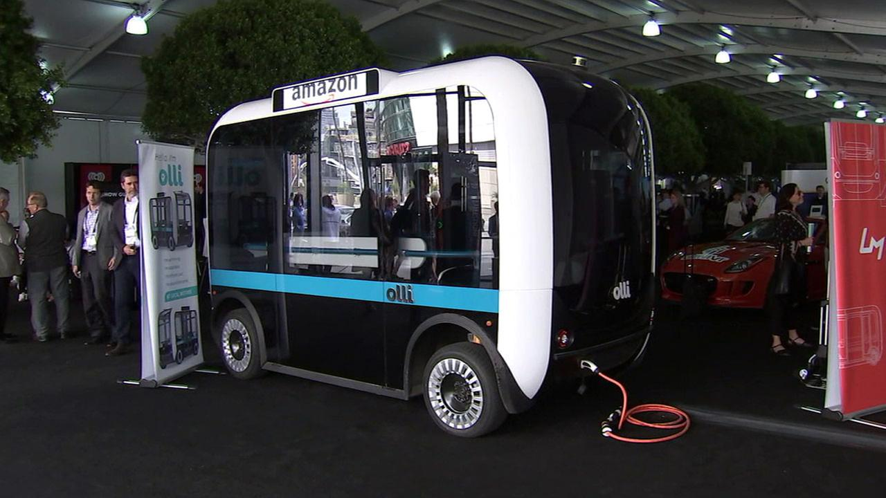 A self-driving shuttle bus created by Amazon is shown at the Los Angeles Auto Show on Tuesday, Nov. 15, 2016.