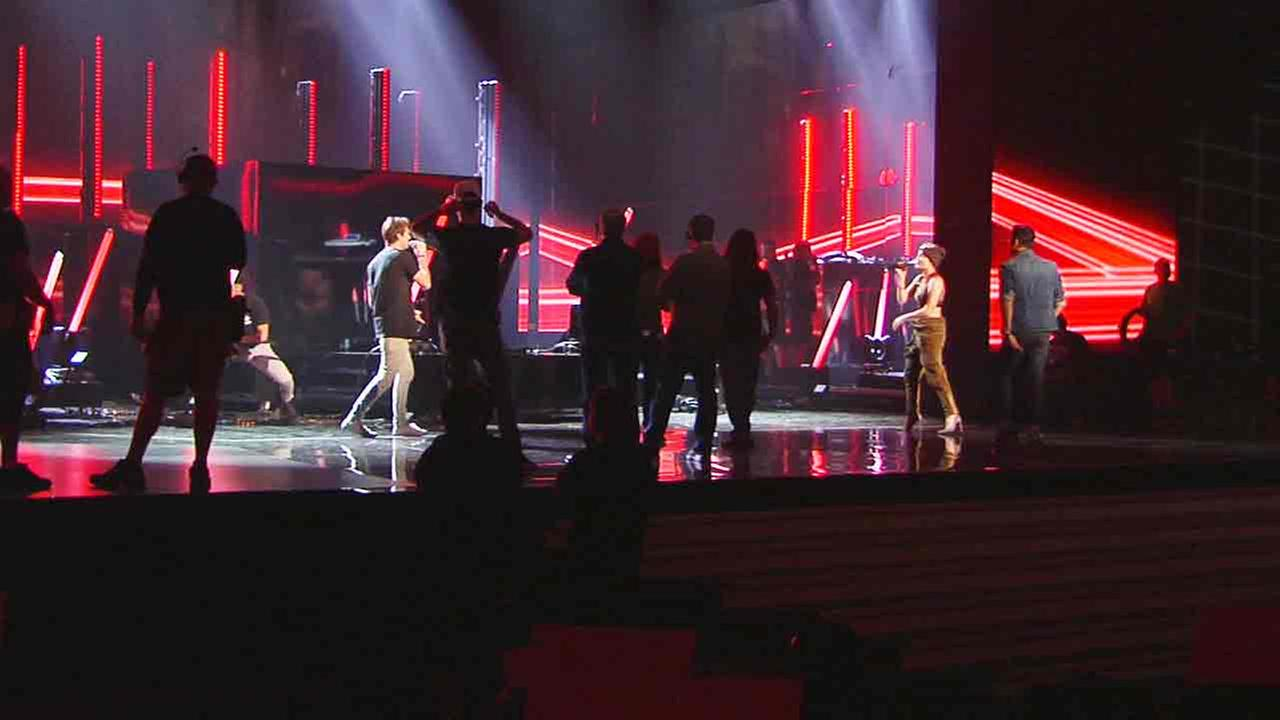 The Chainsmokers and Halsey rehearse at the Microsoft Theater in Los Angeles on Friday, Nov. 18, 2016, for the 2016 AMAs.