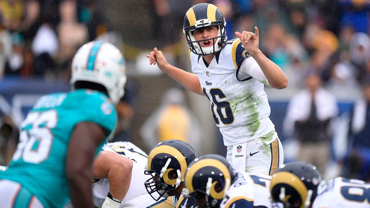 Los Angeles Rams quarterback Jared Goff plays against the Miami Dolphins in his NFL debut on Sunday, Nov. 20, 2016, in Los Angeles.