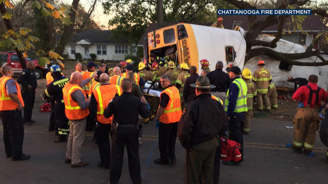 Multiple deaths were reported in an elementary school bus crash in Chattanooga, Tenn., on Monday, Nov. 21, 2016.