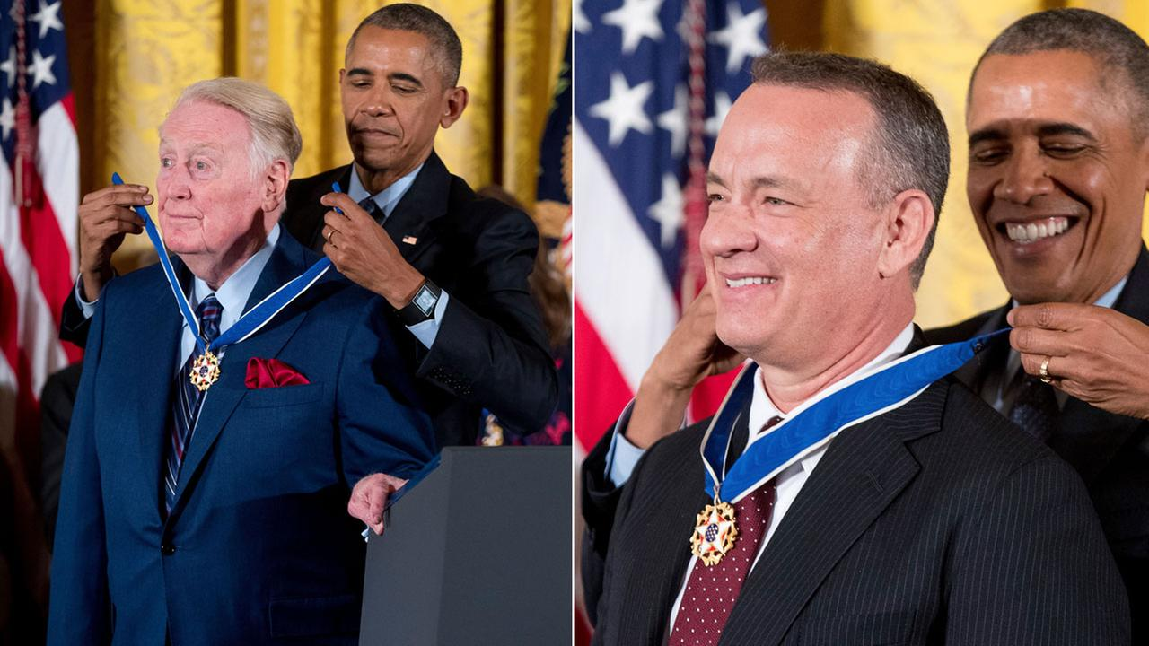 Legendary sports broadcaster Vin Scully and actor Tom Hanks receive the Presidential Medal of Freedom from President Barack Obama on Tuesday, Nov. 22, 2016.