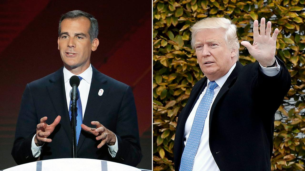 Los Angeles Mayor Eric Garcetti (left) and President-elect Donald Trump (right).