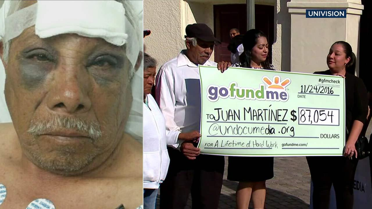 David Juan Martinez received a check for $87,054 raised via a GoFundMe account on Thursday, Nov. 24, 2016.