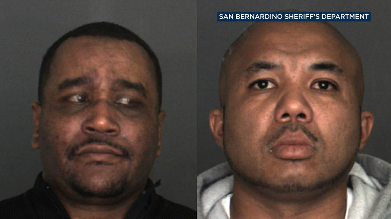 Daniel Mitchell, left, 39, of Chino Hills, and Brandon Gaynor, right, 39, of Rancho Cucamonga, are seen in booking photos from the San Bernardino County Sheriffs Department.