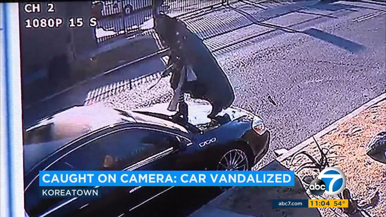 A woman was caught on camera vandalizing a parked vehicle in Koreatown for hours, using a metal stick to carve random words and letters into the paint for no apparent reason.