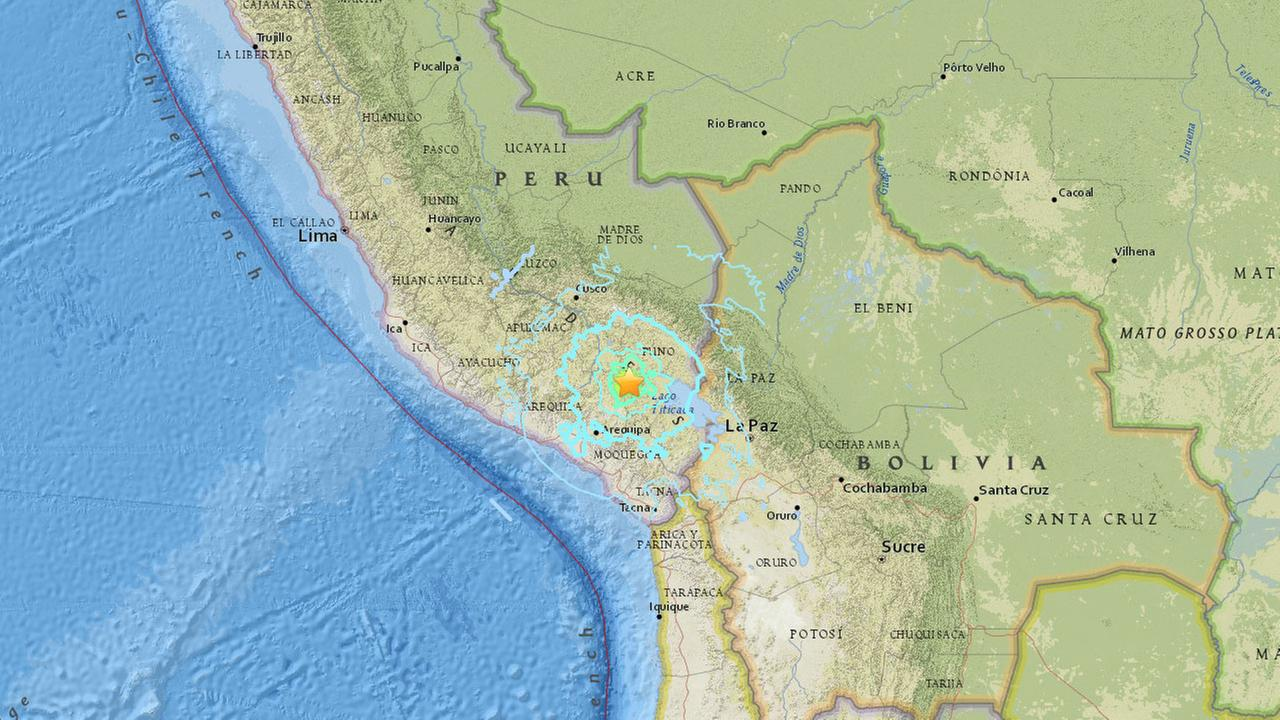 A map shows the epicenter of a magnitude-6.3 earthquake that struck Peru on Thursday, Dec. 1, 2016.