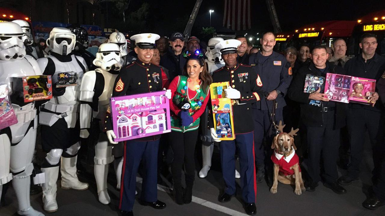 ABC7 teamed up with the Southern California firefighters and U.S. Marine Corps Reserve for its Toys for Tots program.