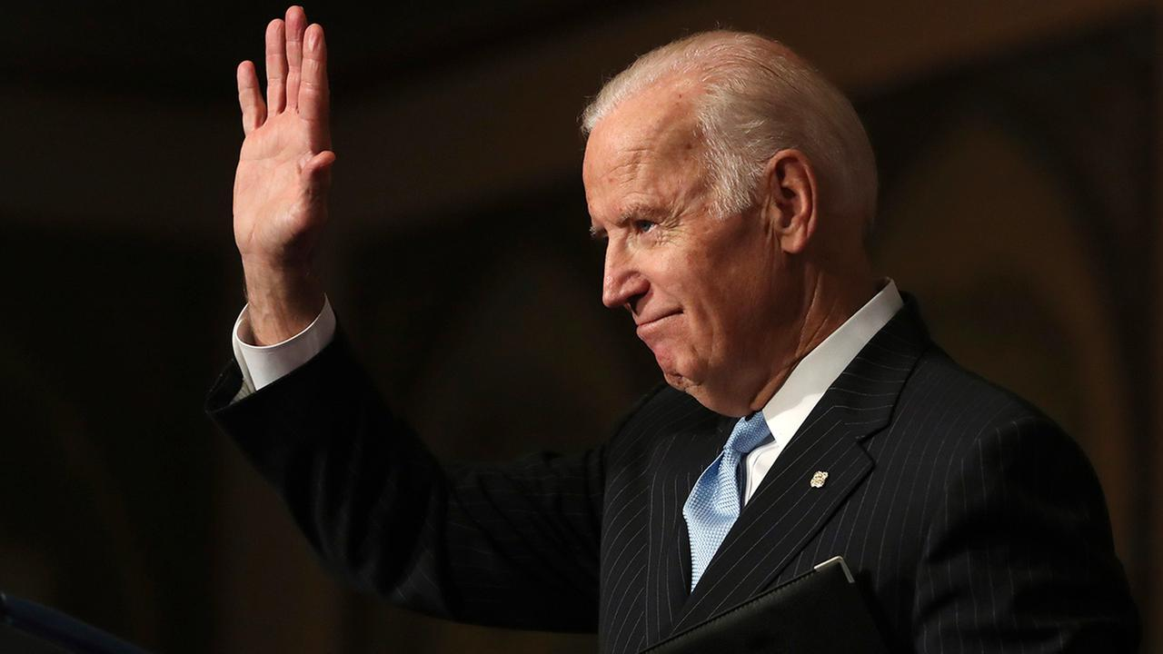 Vice President Joe Biden waves as he concludes his speech about sound financial sector regulation at Georgetown University in Washington, Monday, Dec. 5, 2016.