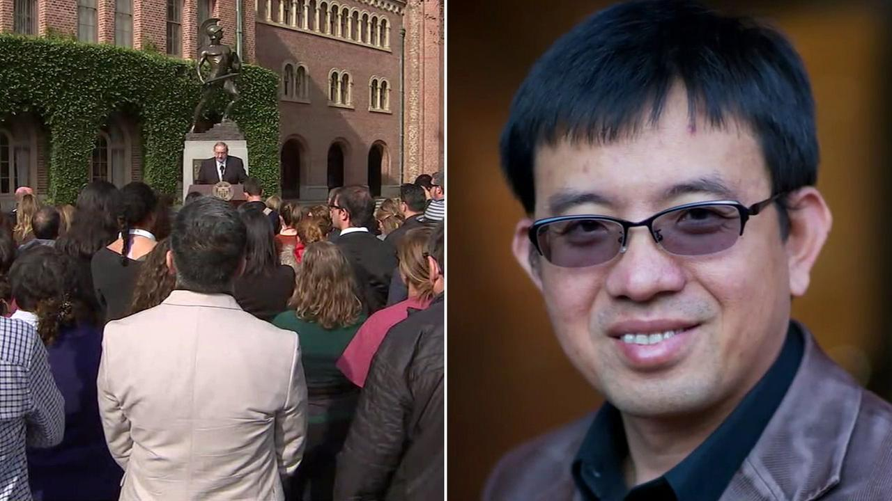 A memorial was held at the University of Southern California for Professor Bosco Tjan, who was fatally stabbed on the campus.