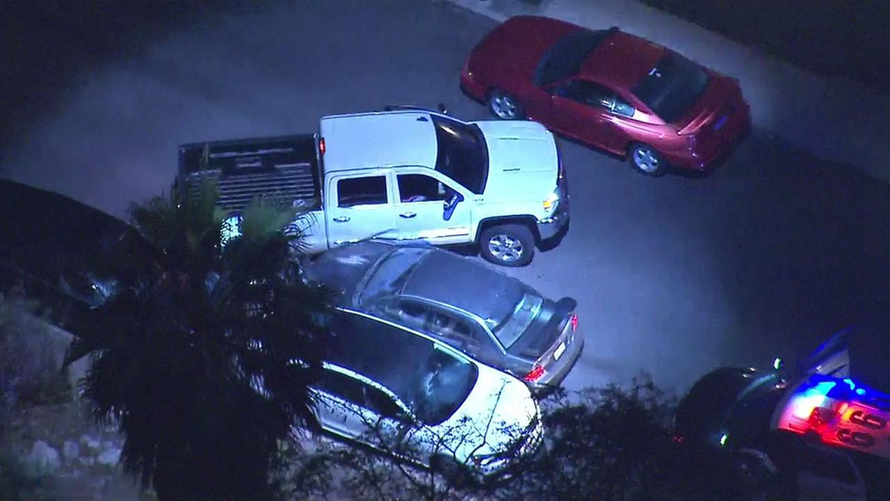 A person driving a truck blocked a chase suspect from escaping a Tujunga neighborhood after a high-speed chase on Tuesday, Dec. 6, 2016.