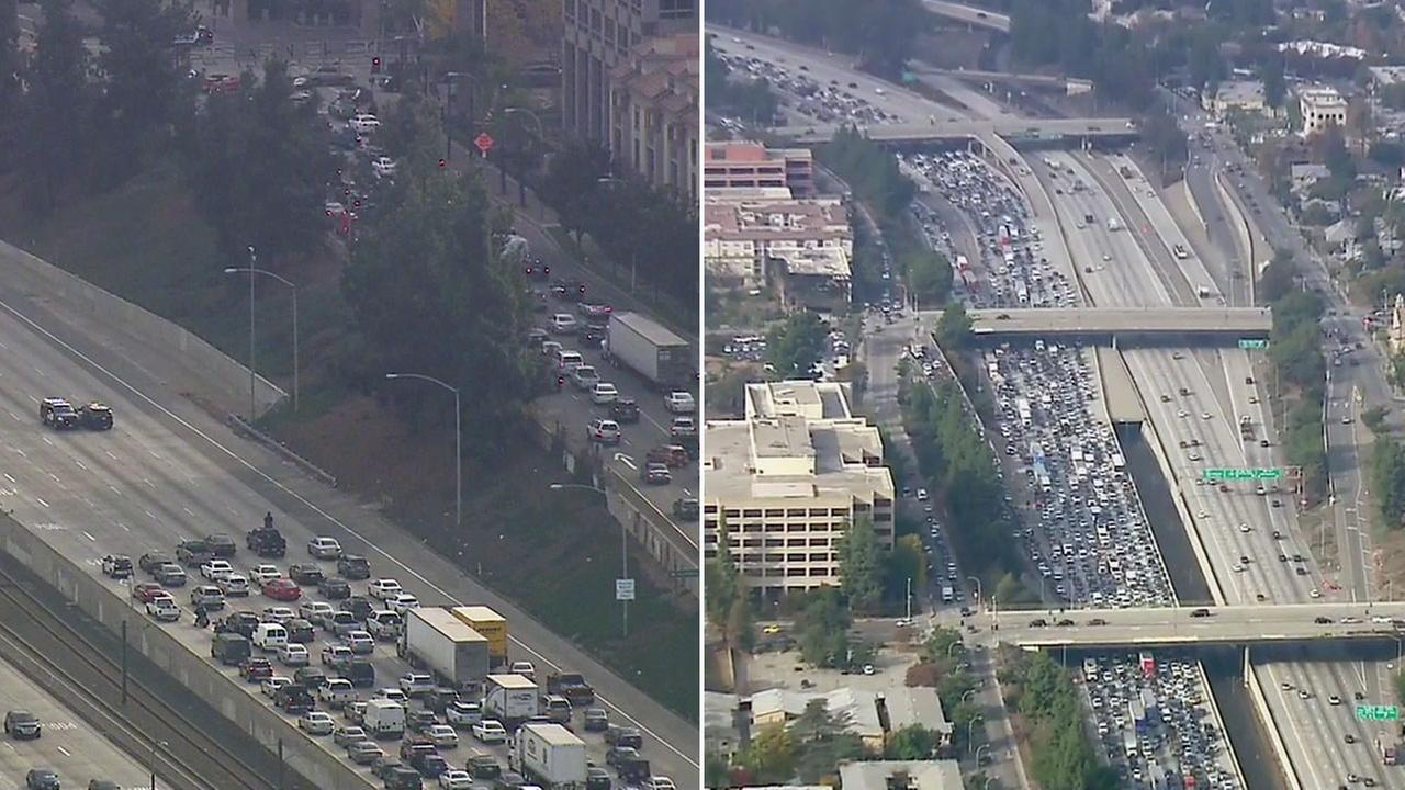 A massive traffic jam was caused after police shut down the 210 Freeway in Pasadena due to a suspicious object found on Wednesday, Dec. 7, 2016.